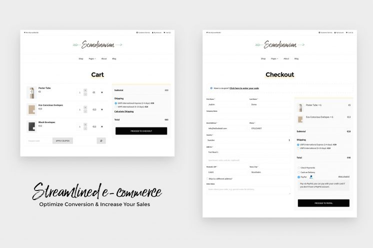 Scandinavian - Cart and checkout pages